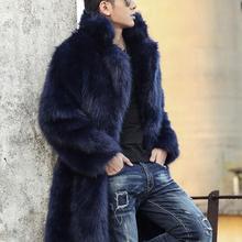 Black blue Autumn faux mink fur leather jacket mens winter thicken warm fur leat