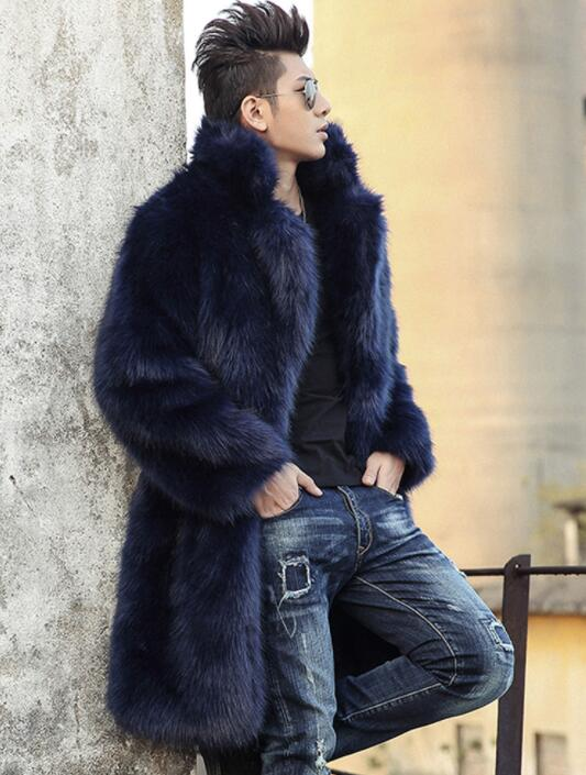 Black Blue Autumn Faux Mink Fur Leather Jacket Mens Winter Thicken Warm Fur Leather Coat Men Loose Jackets Fashion B235