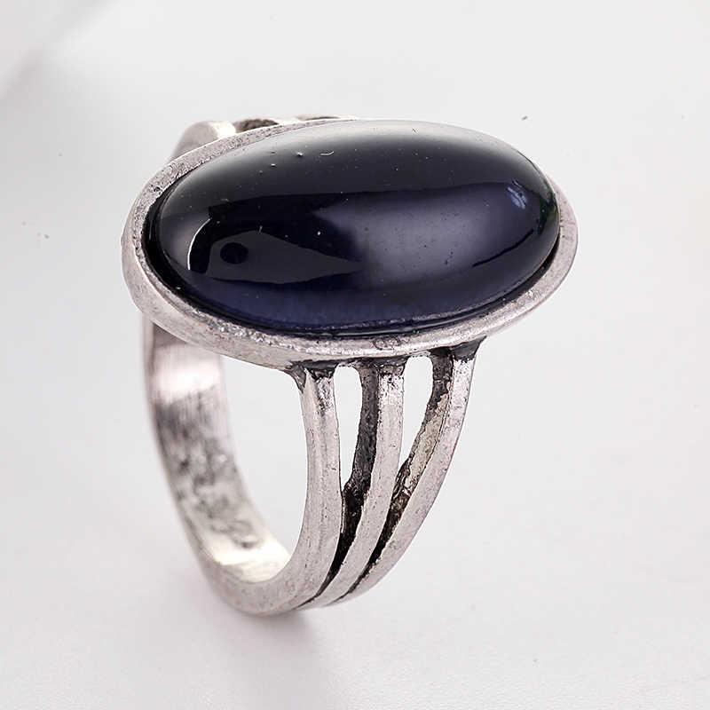 Grande oval preto anéis de pedra para presente feminino clássico antigo prata anéis de junta bague femme masculino anillos anel l5j449