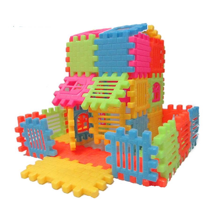 44pcs/lot puzzle fun 3D Stereoscopic assembly of building blocks assembled house building toys can be opened window building