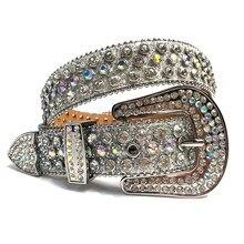 Correa De diamante De lujo para mujer y hombre, cinturón con tachuelas De cristal occidental, vaquero y Vaquera, correa De diamantes De imitación