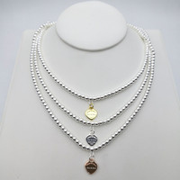 Sterling Silver 925 Classic Fashion Heart Charm Lady 4mm Bead Necklace Jewelry Holiday Gift