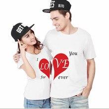 Presente para Casais casal Camisas de Boa Qualidade Tee Branco EU Te amo Para Sempre Casal T-shirt Set Moda Matching
