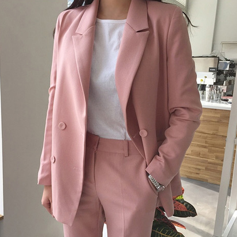 S-2XL Plus Size Elegant Pant Suit Female Full Sleeve Casual Blazer+Button Pencil Trousers 2 Piece Set Women Autumn Pink Outfit