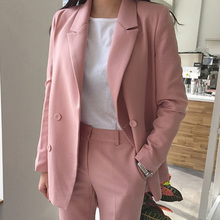 S-2XL Plus Size Elegant Pant Suit Female Full Sleeve Casual Blazer+Button Pencil