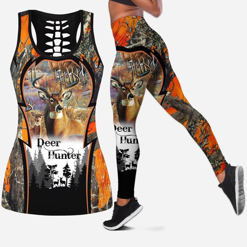 Moda Animal Veados Caça Feminino Oco Tanktop & Legging Impressão 3d Lazer Hipster Streetwear Sexy Colete Roupas S-54