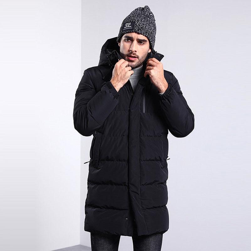 Новинка 2019, мужское хлопковое пальто, Мужская зимняя длинная куртка с капюшоном, свободная повседневная Толстая черная куртка, больше разме...