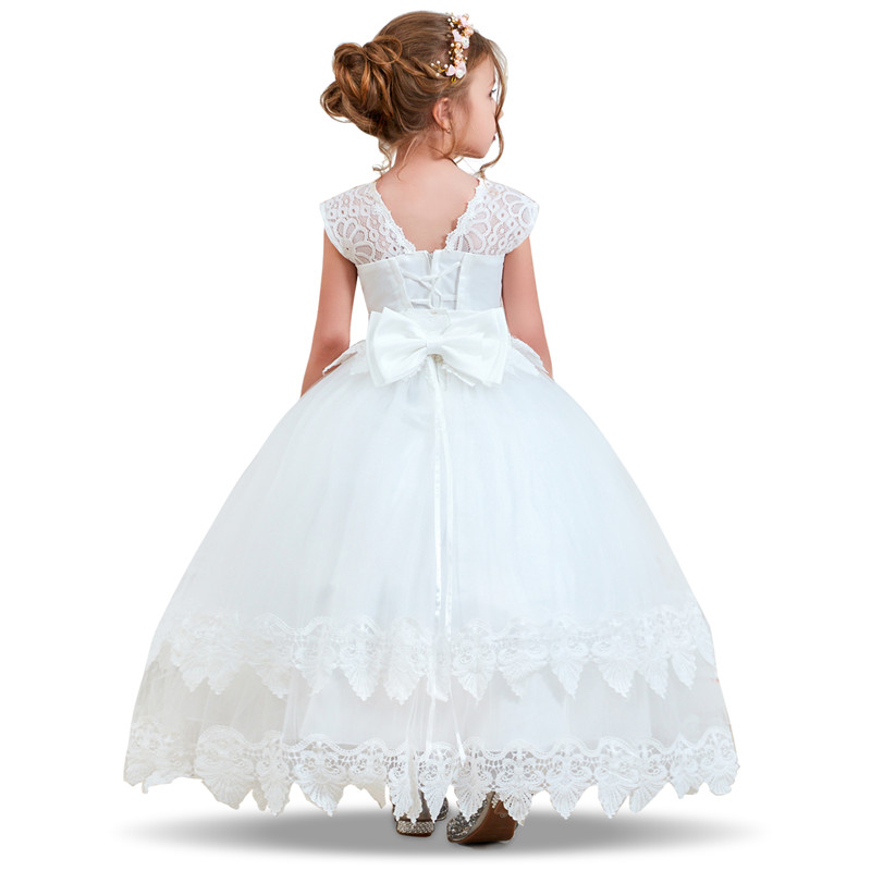 Flower Girl Dresses Gown Red Christmas Lace Long Wedding Pageant First Communion Dress for Big Girls Children Formal Wear 12T 6