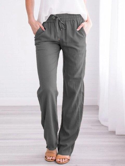 Summer Women's Cotton Linen Drawstring Loose Wide-Leg Pants Hot Sale Long Trousers With Pocket WDC4496 5