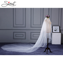 SERMENT Wedding Long Veil Cathedral Two-Layer Plain Dyed 300cm Cut Edge Lace Double-layer Accessories