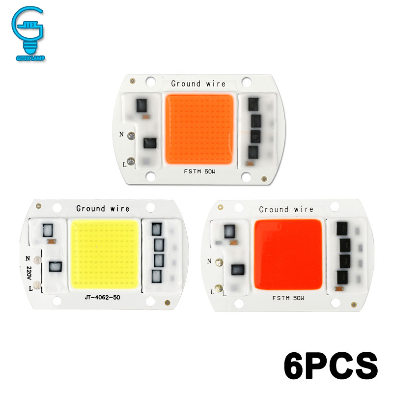 6 Pcs COB Chip 10W 20W 30W 50W LED Chip Lamp 220V 240V No Need Driver For  Flood Light Spotlight Lampada DIY Lighting