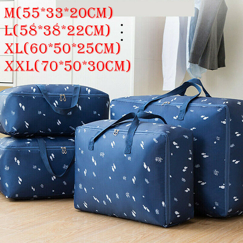 Portable Oxford Storage Bag Waterproof Folding Clothing Organizer With Zipper Casual Unisex Print Travel Large Capacity Handbag