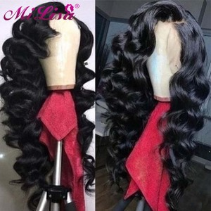 13x4 Loose Wave Wig Lace Front Human Hair Wig Pre Plucked With Baby Hair Mi Lisa Hair Brazilian Lace Frontal wig For Black Women(China)