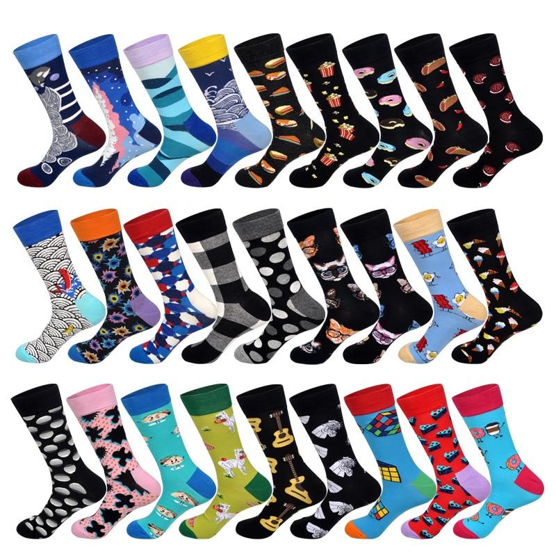LIONZONE Hip Hop Men Socks Cotton Funny Crew Socks Animal Cat Food Women Socks Novelty Gift Socks For Spring Autumn Winter