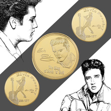 The King Of Rock Elvis Presley 1935-1977 Gold Commemorative Coin in Coin Holder Music Challenge Coin Collectble Gift For Fans
