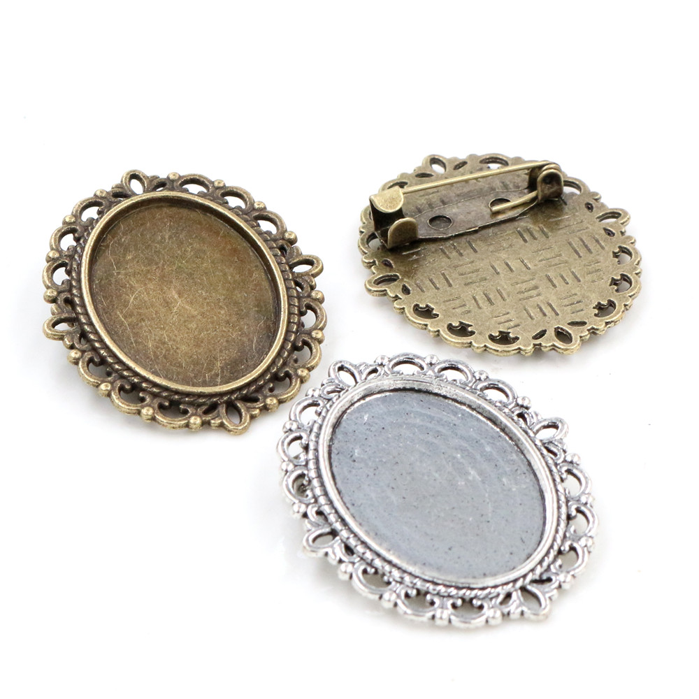 5pcs 18x25mm Inner Size Antique Silver Plated And Bronze Brooch Pin Classic Style Cameo Cabochon Base Setting Tray