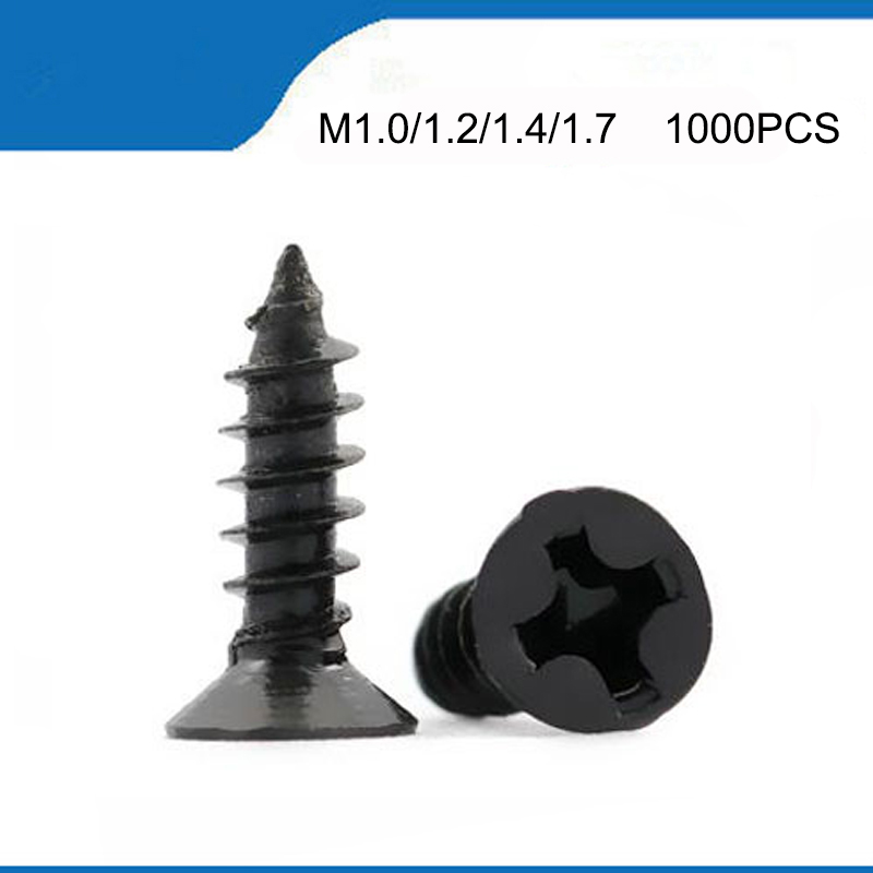 <font><b>1000pcs</b></font> Cross Countersunk Flat Head Self-tapping Screw M1 M1.2 M1.4 M1.5 M2 M2.6 <font><b>M3</b></font> <font><b>M3</b></font>.5 M4 Black Carbon Steel Phillips Screw image