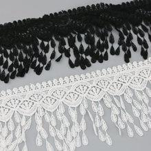 (1 jardas/rolo) 70mm branco preto seda rede laço tecido fitas guarnição diy costura artesanal artesanato materiais