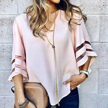V Neck Flared Sleeves Mesh Patchwork Shirts Summer Plus Size Casual Loose Mesh Women Blouse Pink Street Womens Tops Blouses 5XL grey round neck flared sleeves blouse