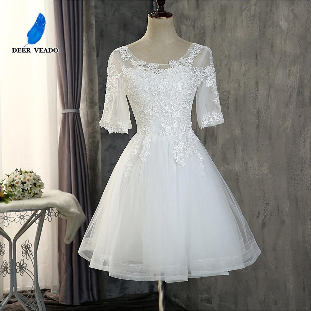 DEERVEADO CH616 Elegant Half Sleeves Short Prom Dresses 2020 Lace-Up Adjustable Open Back Formal Dress Evening Party Dresses