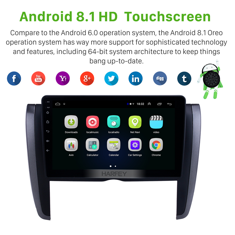 Harfey Car Stereo 9 Navi Android 8.1 HD Bluetooth GPS for Toyota Allion 2007 2008 -2015 Touchscreen USB AUX support Carplay DVR image