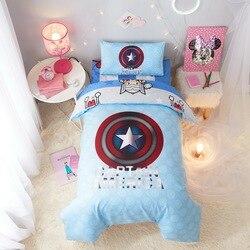 Captain America Avengers kołdry pościel zestaw szopka rozmiar dla chłopców dziecko 120*150CM kołdra poszwy na kołdry 100% bawełna narzuty dzieci