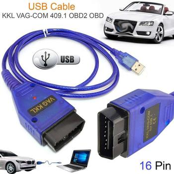 Car USB Vag-Com Interface Cable KKL VAG-COM 409.1 OBD2 OBDII 16 Pin Diagnostic Scanner Auto Cable Aux image