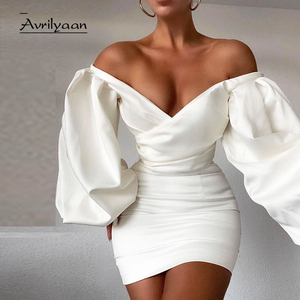 Avrilyaan White Double Layer Pleated Sexy Dress For Women Night Club Mini Party Dresses Vestidos Elegant Bodycon Summer Dress
