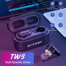 Blitzwolf Dual Dynamische Treiber TWS Bluetooth V 5,0 Drahtlose Kopfhörer Headset Wasserdichte Hohe Sound Qualität Starke Bass