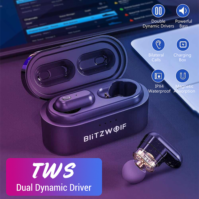 Blitzwolf المزدوج الديناميكي سائق TWS بلوتوث V5.0 اللاسلكية سماعة سماعة مقاوم للماء عالية الصوت جودة باس قوي
