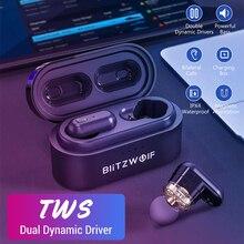 Blitzwolf auriculares TWS inalámbricos con Bluetooth V5.0, auriculares con controlador dinámico Dual, resistentes al agua, potentes graves de alta calidad