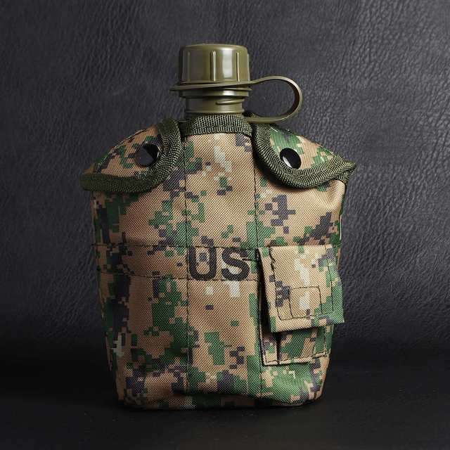 Heavy Cover Army Water Bottle Aluminum Cooking Cup Military Canteen Camping Hiking Survival Kettle Outdoor Tableware 2
