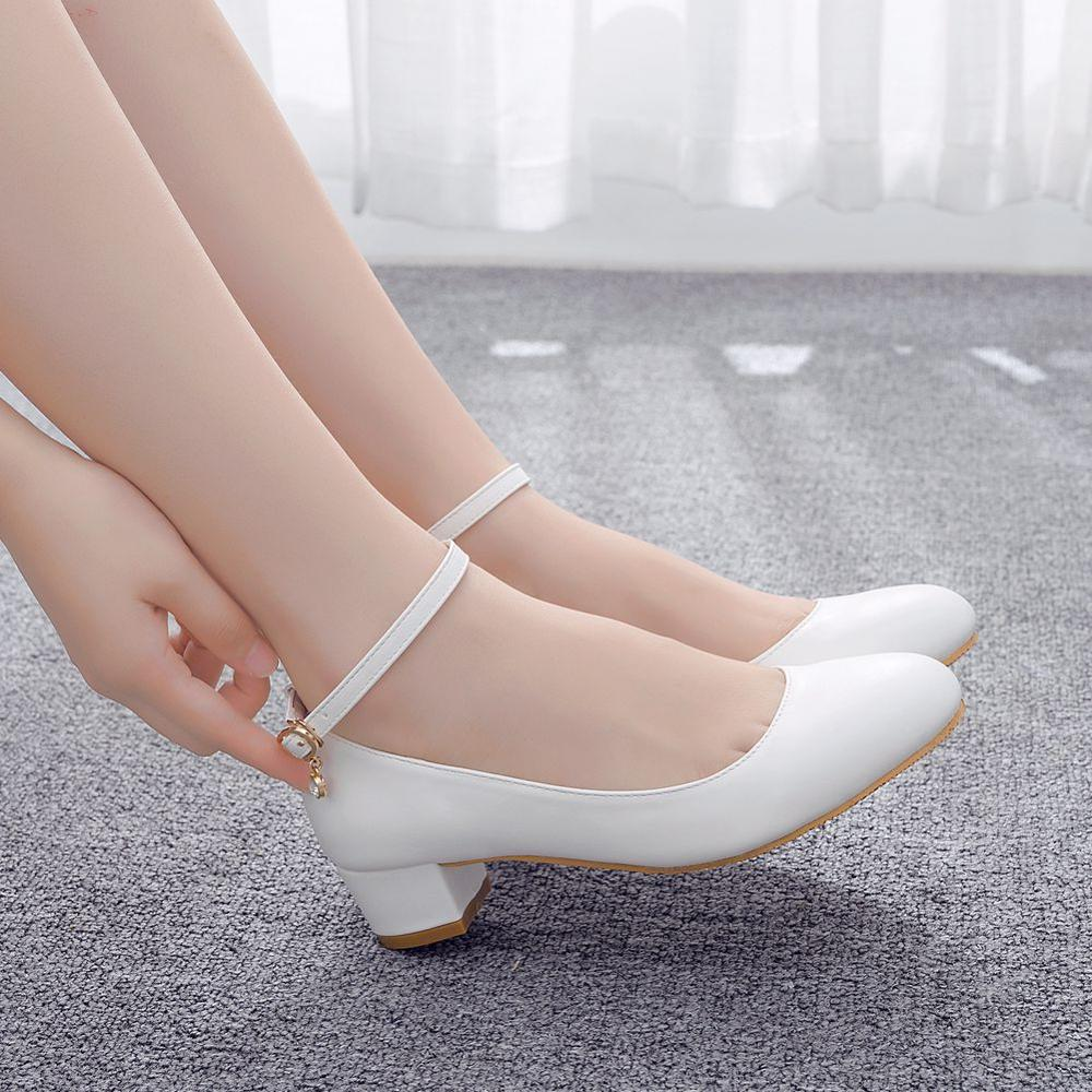 Crystal Queen White Women's High Heels Sexy Bride Party 3CM Mid Heel Pointed Toe Shallow Mouth High Heel Shoes Big Size 42