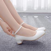 Crystal Queen White Women's High Heels Sexy Bride Party 3CM mid Heel