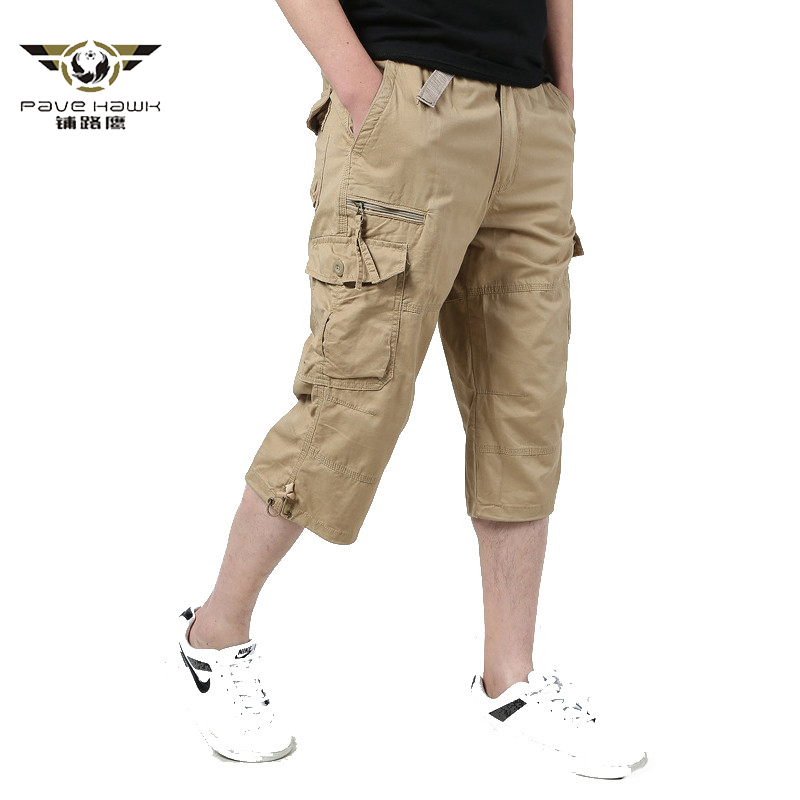 Long Length Cargo Shorts Men 2020 Summer Knee Multi Pocket Casual Cotton Elastic Waist Bermudas Male Military Style Hot Breeches