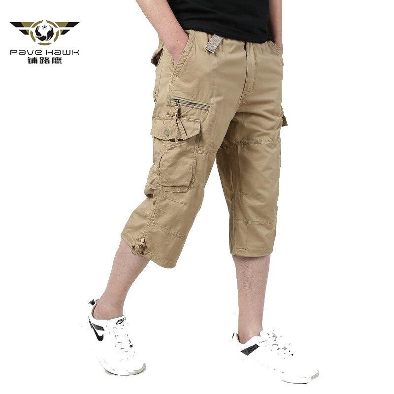 Long Length Cargo Shorts Men 2020 Summer Knee Multi Pocket Casual Cotton Elastic Waist Bermudas Male Military Style Hot Breeches