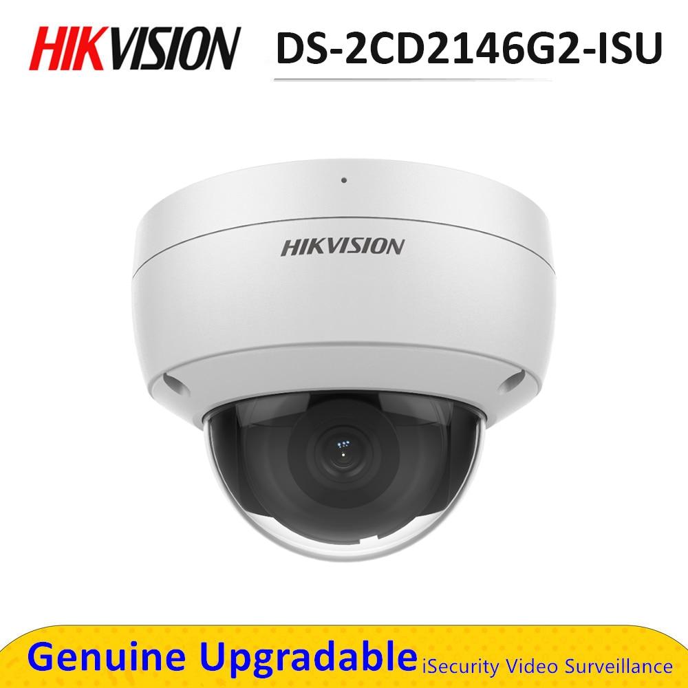 Hik caméra IP AcuSense 4MP IR PoE tourelle DS-2CD2146G2-ISU intégré micro et fente pour carte SD Surveillance vidéo CCTV sécurité IP67
