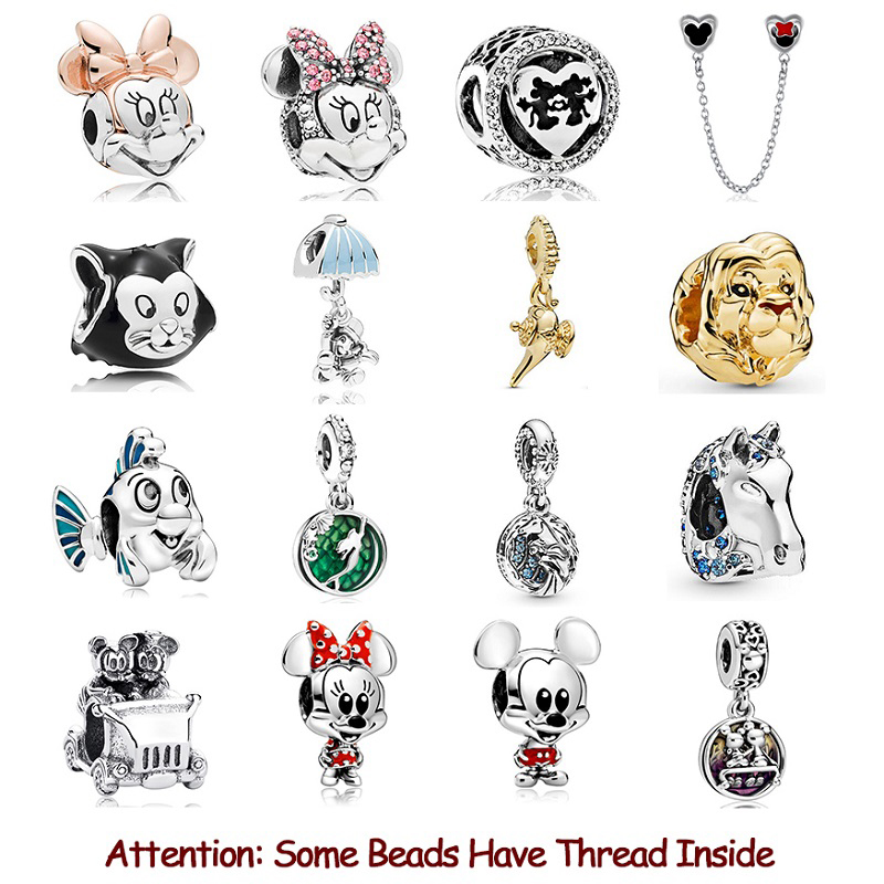 2020 New Original 925 Sterling Silver Beads Mickey Minnie Safety Chain Charm Fit Pandora Bracelet Bangle DIY Women Jewelry
