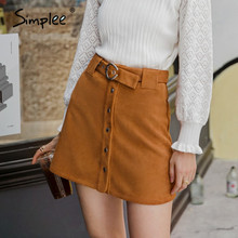 Short Skirt Simplee Elegant Suede Women Winter A-Line-Belt Metal Solid Casual Buckle