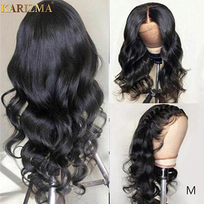 Karizma Lace Front Human Hair Wigs Peruvian Body Wave Lace Front Wig 180 Density Pre Plucked 13x4 Lace Frontal Wig