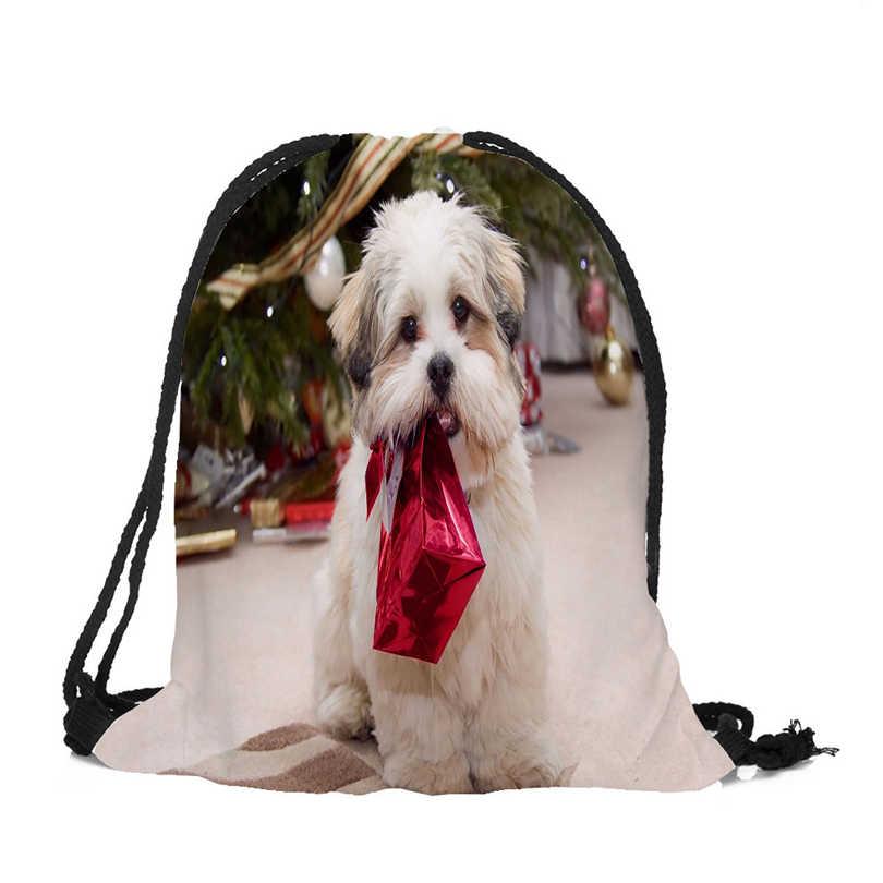 هدايا عيد الميلاد حقيبة ظهر برباط لطيف الكلاب الطباعة السفر تخزين الحقيبة الصغيرة السباحة التنزه لعبة حقيبة التخزين حجم 39x32 سنتيمتر A4