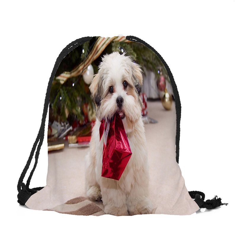 Christmas Gifts Bag Drawstring Backpack Cute Dogs Printing Travel Storage Mini Pouch Swim Hiking Toy Storage Bag Size 39x32cm A4
