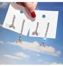 Colored gem fishtail asymmetric earrings 925 silver needle Korean personality wild temperament creative female