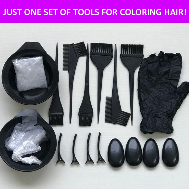 22Pcs Reusable Hair Dye Colouring Brush Comb Bowl Tool Kit Set Hairdressing Styling Tools High Quality Headed Brushes Set