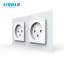 Livolo EU Standard double Israel Power Socket, Glass Panel,AC 100~250V 16A Wall Power Socket,C7C2IL 11/12/13/15(4colors),no logo