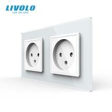 Livolo Standard ue podwójne izraela gniazdo zasilania, szklany Panel,AC 100 ~ 250V 16A ścienne gniazdo zasilające, C7C2IL 11/12/13/15(4 kolory), brak logo