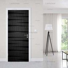 Простые черные линии художественные дверные наклейки настенные
