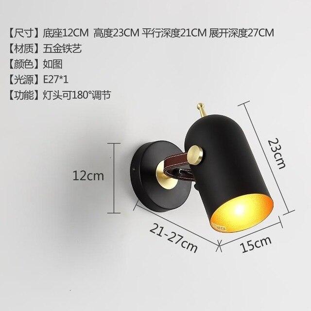 Nórdico moderno lâmpada de parede decoração para casa cinto preto quarto luz lampara pared luz do banheiro apliques murale led wandlamp - 6