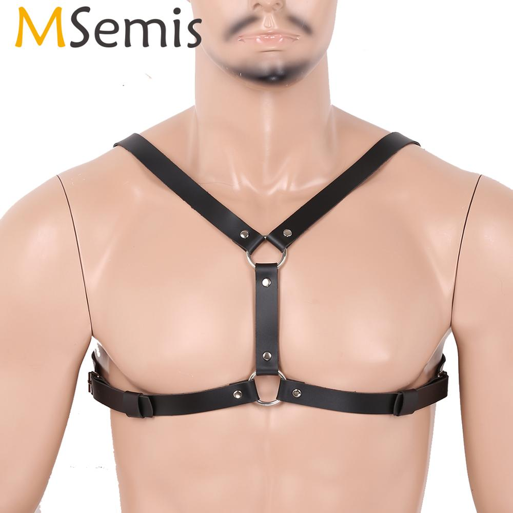 Punk Mens PU Leather Body Chest Harness Belt Costume Cosplay Lingerie Strap CLUB