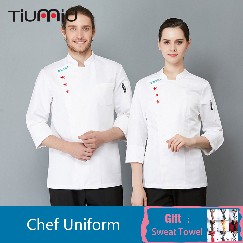 Embroidery Long Sleeve Professional Head Chef Uniform Restaurant Hotel Kitchen Chef Jacket Coat Catering Bakery Cook Overalls